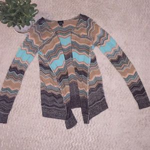Teal, Tan & Brown Cardigan